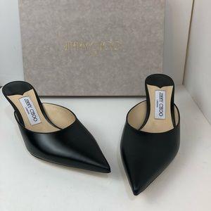 BNIB Jimmy Choo Rav Mules Slides Black Leather